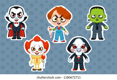 Vector illustration halloween costume characters stickers pennywise clown chucky scary doll billy saw vampire frankenstein zombie