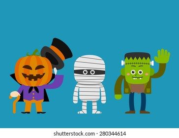 Vector illustration - halloween costume characters