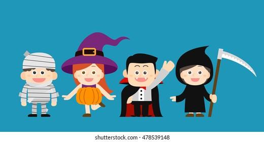 Vector illustration - halloween costume characters