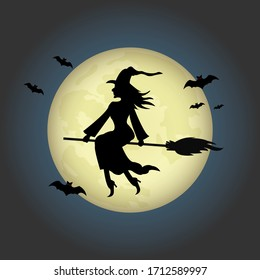 Vector illustration Halloween day. The witch riding a broom through the full moon.