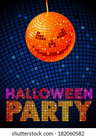 Vector illustration of Halloween disco ball. Party flyer.