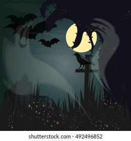 Vector Illustration Halloween. Fairy Forest Haunted