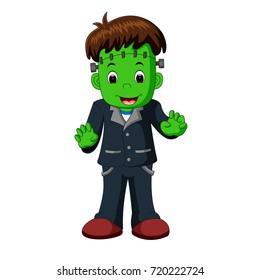 vector illustration of Halloween Frankenstein cartoon