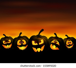 Vector illustration to Halloween with funny pumpkins at sunset