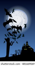 vector illustration halloween holiday banner with vampire, flying bats, a castle silhouette