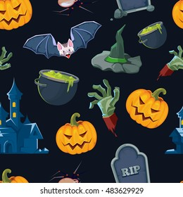 vector illustration of Halloween icons set isolate on white background.