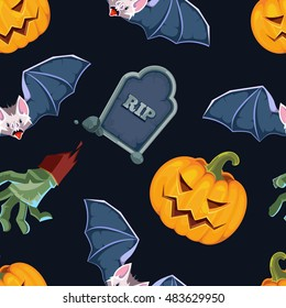 vector illustration of Halloween icons set isolate on dark background.