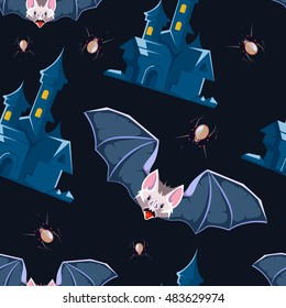 vector illustration of Halloween icons set isolate on dark background. Pictures of bat vampire symbol and dark castle.