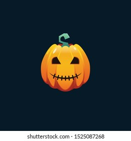 Vector illustration, Halloween Jack O' Lantern pumpkin head in cartoon style. Long shape pumpkin with stitched mouth