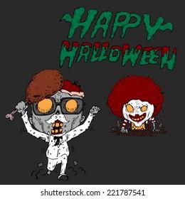 Vector illustration of Halloween KFC and Mcdonals