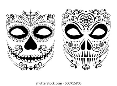 vector illustration halloween mask set