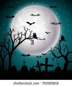 Vector Illustration of Halloween night background
