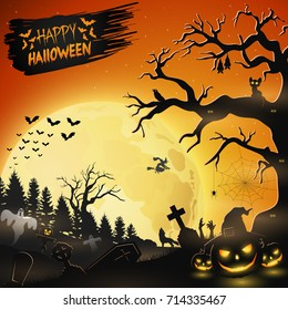 Vector illustration of Halloween night background with pumpkins