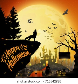 Vector illustration of Halloween night background with howling wolf