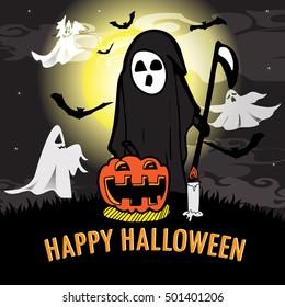 vector illustration Halloween night on full moon design background