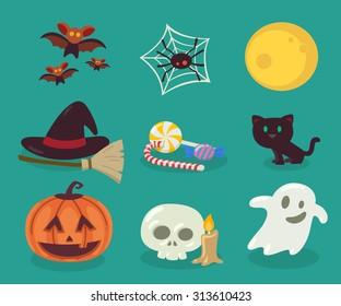 Vector Illustration. Halloween objects.