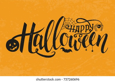 Vector Illustration of halloween on yellow background. Happy Halloween Text Banner. Poster for Halloween on yellow background. Autumn poster with pumpkin, web, bat, spider.