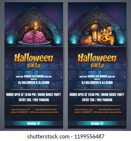 Vector illustration Halloween party flyer vertical. Bright image to create original video or web games, graphic design, screen savers.