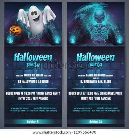 vector illustration halloween party flyer bright stock vector