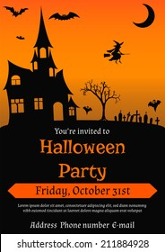 Vector illustration of Halloween party invitation in vintage style decorated with haunted house,  bats, witch, ghosts and other Halloween symbols
