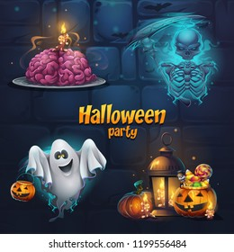 Vector illustration Halloween party set items. Bright image to create original video or web games, graphic design, screen savers.