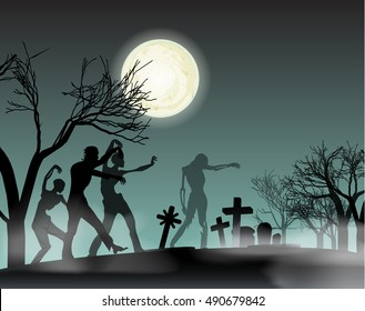 vector illustration halloween poster with zombie silhouettes walking from cemetery and moon in night sky