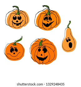 Vector illustration with halloween pumpkin and leaves. Vegetable from the farm. Organic food. Design for logo, cards, banners and textile. EPS 10