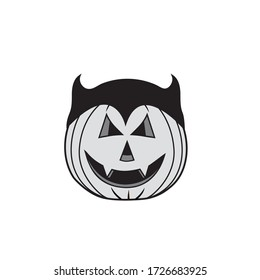 Vector illustration of a Halloween pumpkin vampire character