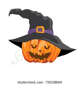 Vector illustration of  Halloween pumpkin with witch hat on white background.