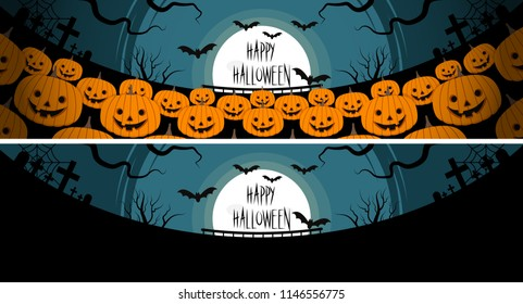 Vector Illustration, Halloween a lot of pumpkins in front of a full moon