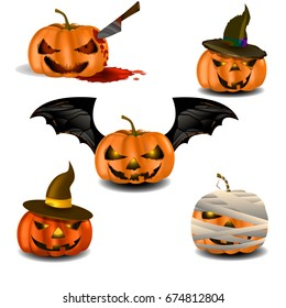 "Vector illustration "" Halloween pumpkins set "". Can be used as poster, banner, greetings card, sticker, fly er or background. There is image of horror characters for festive creative colored design."