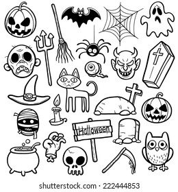 Vector Illustration of Halloween set - Coloring book