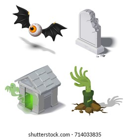 Vector illustration of a halloween set, icons for a web site, scary illustrations, a zombie from a grave, a crypt with a ghost, a flying eye with wings, a tombstone. Autumn holiday. Isometric.