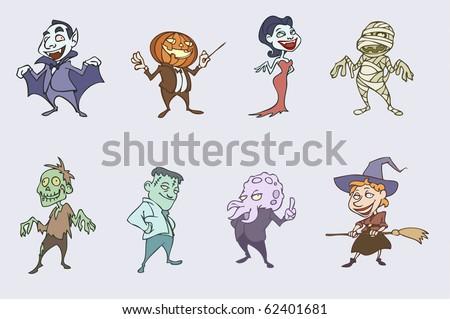 Vector Illustration Halloween Spooky Characters Vampire Vector de ...