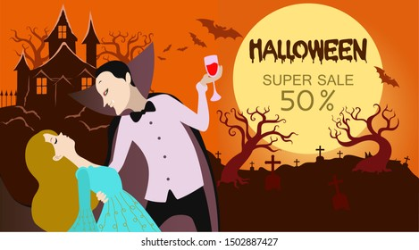 Vector illustration with a Halloween theme where a Dracula is sucking the blood of a girl with a scary Dracula castle background