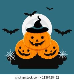 Vector Illustration, Halloween three cute pumpkins in front of a full moon