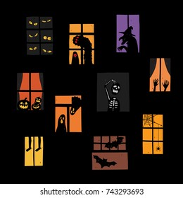 Vector illustration of Halloween windows silhouette set. Very easy to edit.