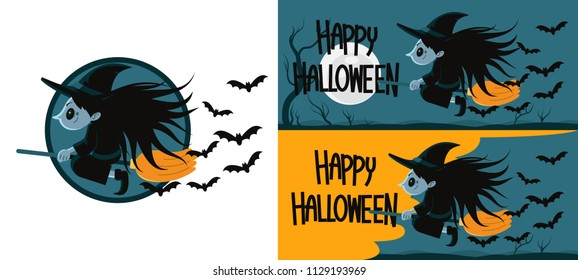 Vector Illustration, Halloween witch flying on broom at night