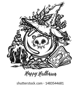 Vector illustration, Halloween,crystal ball, mystic, witchcraft, witch hat, tarot cards. handmade, prints, tattoo
