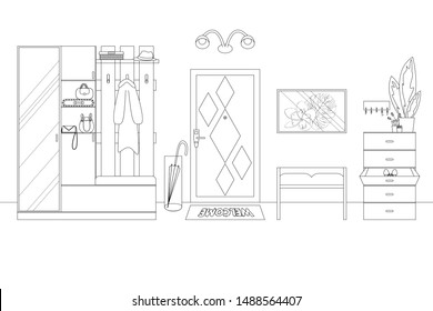 Vector Illustration of a Hallway in Outline Style. Line Illustration of Modern Home Hallway. Schematic Template with Furniture in Linear Style. Front View, Includes: Door, Wardrobe, Locker and Hangers