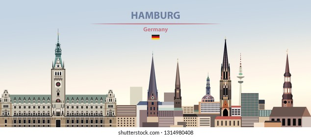 Vector illustration of Hamburg city skyline on colorful gradient beautiful day sky background with flag of Germany