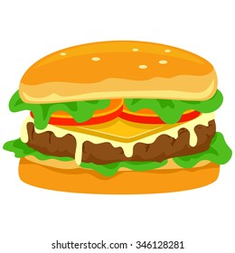 Vector Illustration of Hamburger