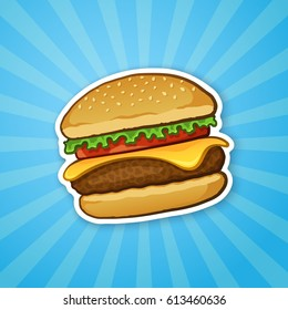 Vector illustration. Hamburger with cheese, tomato and salad. Unhealthy food. Sticker in cartoon style with contour. Decoration for patches, prints for clothes, badges, posters, emblems, menus