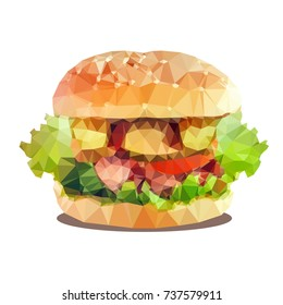 Vector illustration of  hamburger. Isolated on white background. Low polygon style.