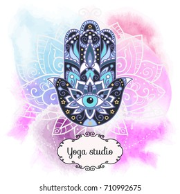 Vector illustration. Hamsa on an abstract watercolor background. Frame for text.