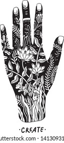 vector illustration of a hand with botanical elements inside inspiring to creativity