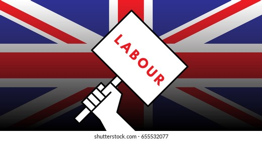Vector illustration of hand of british voter holding sign featuring the word labour showing support for the labour political party in the upcoming United Kingdom general election.