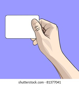 Vector illustration of a hand with business card on blue