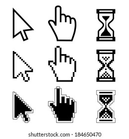 Vector illustration hand cursor hourglass. Black and white illustration