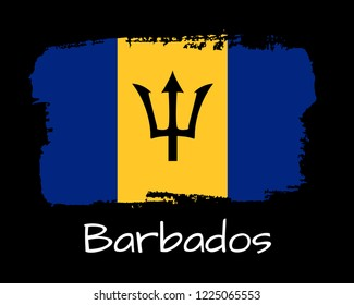 Vector Illustration. Hand draw Barbados flag. National Barbados banner for design on blackbackground